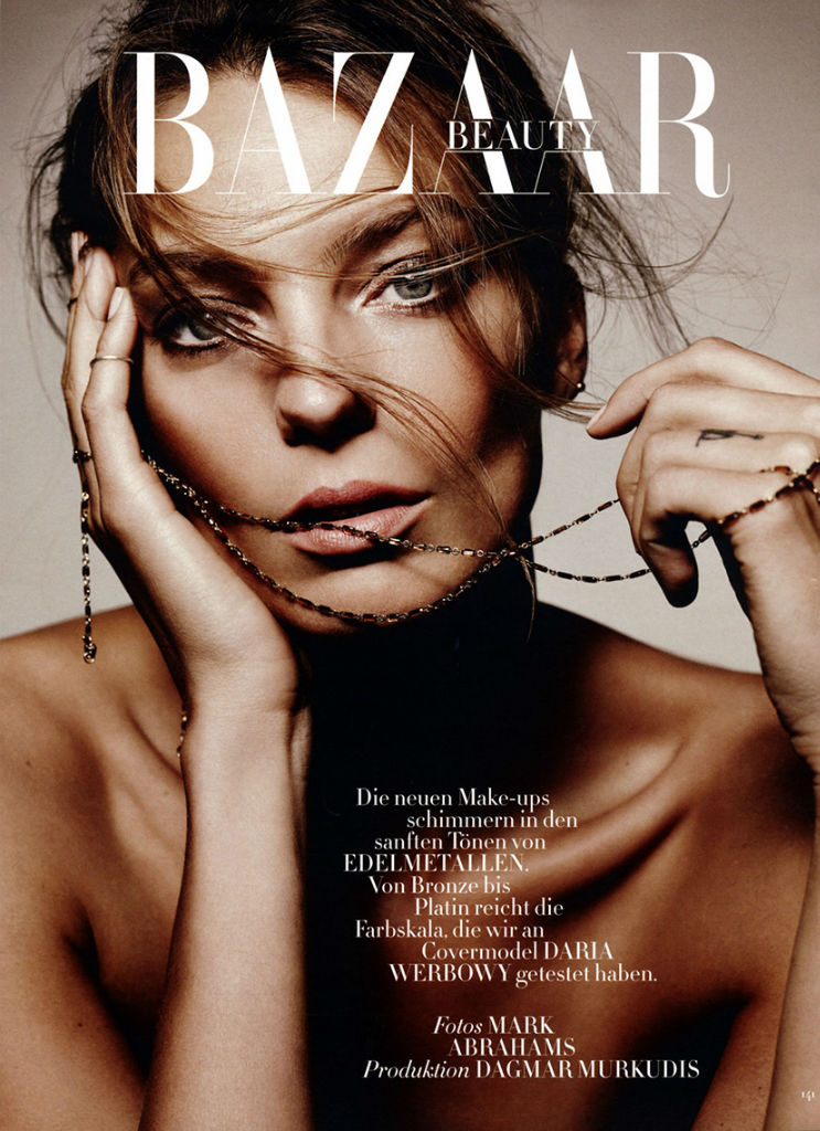 Photo Daria Werbowy by Mark Abrahams for Harpers Bazaar Germany September 2013