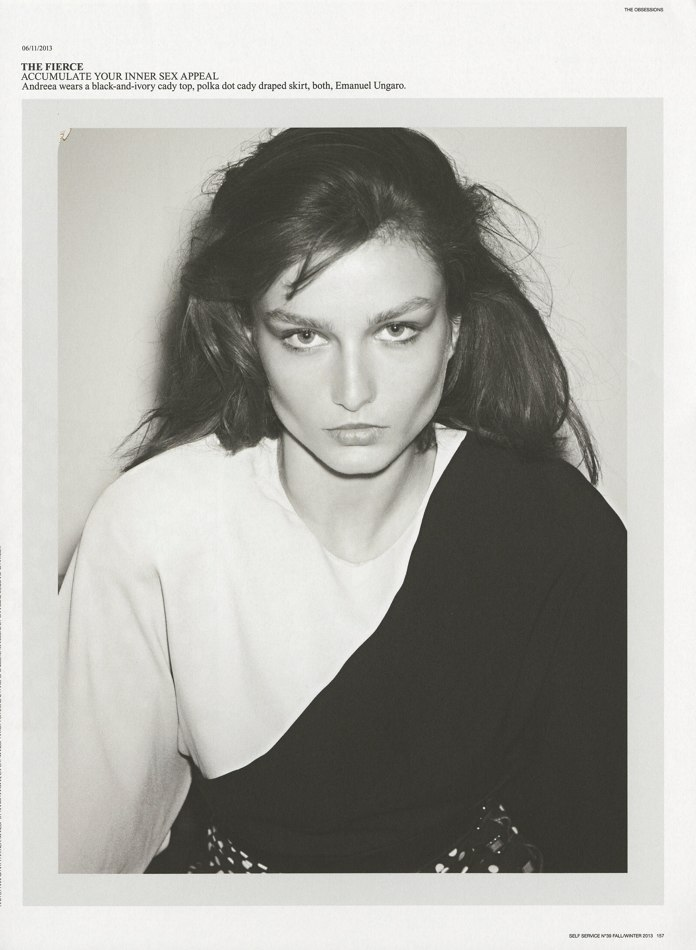 Photo Andreea Diaconu by Ezra Petronio for Self Service Issue 39