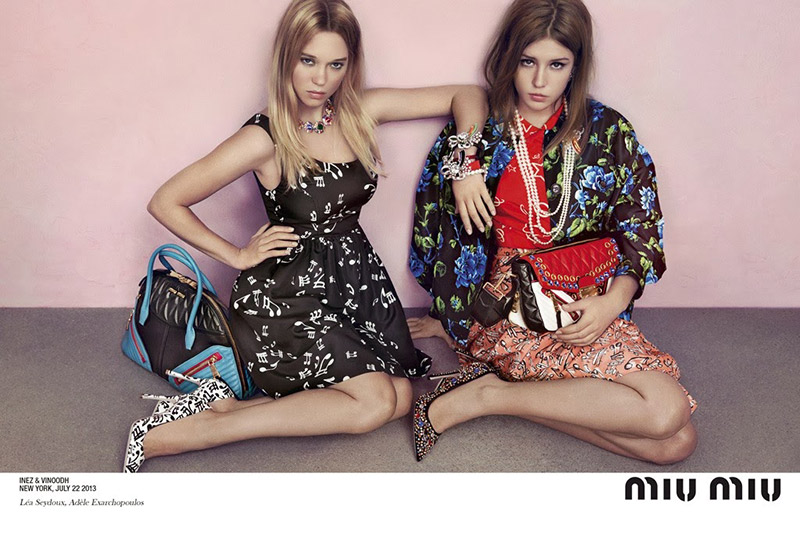 Photo Léa Seydoux & Adèle Exarchopoulos by Inez & Vinoodh for Miu Miu Cruise 2014 Campaign