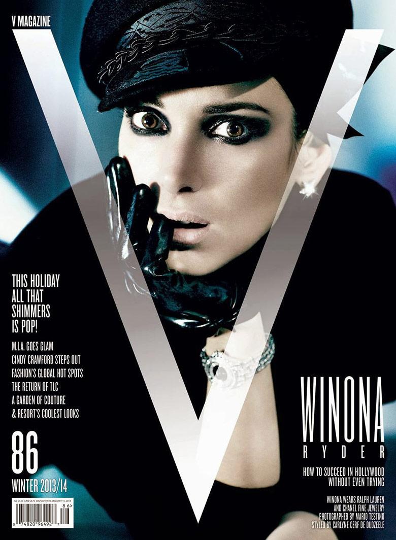 Photo Winona Ryder by Mario Testino for V Magazine Winter 2013/14