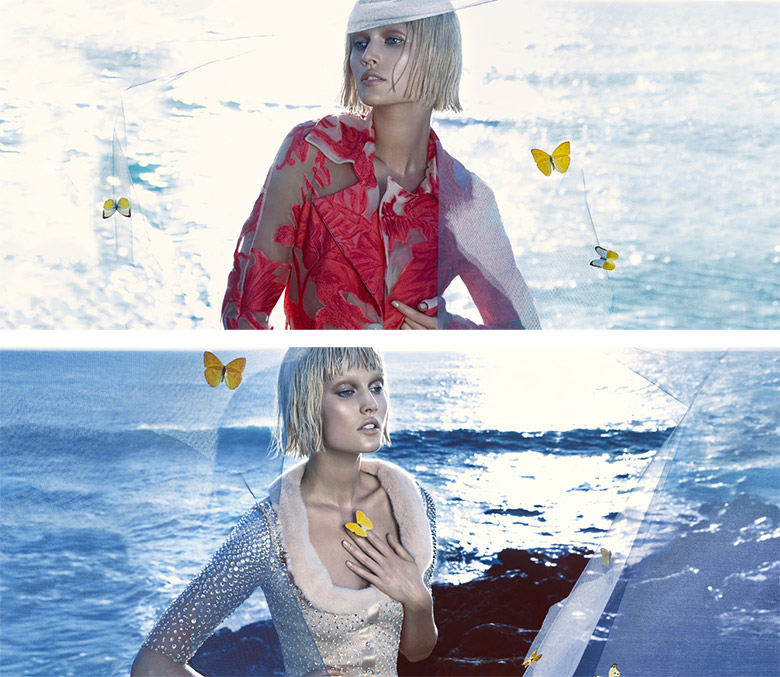 Photo Toni Garrn by Camilla Akrans for Blumarine Spring/Summer 2014