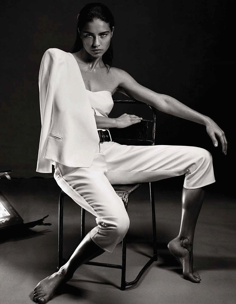 Adriana Lima takes on the purity of color white for Interview Germany April 2014