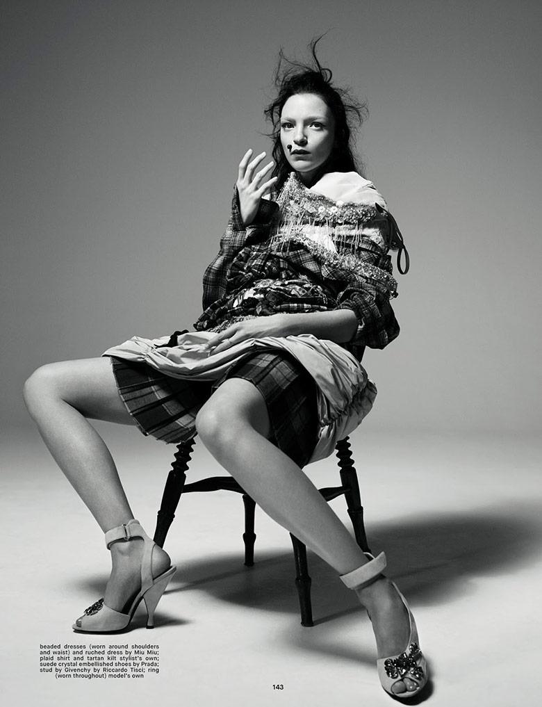 Photo Mariacarla Boscono reveals glitz and tartan for Dazed Summer 2014