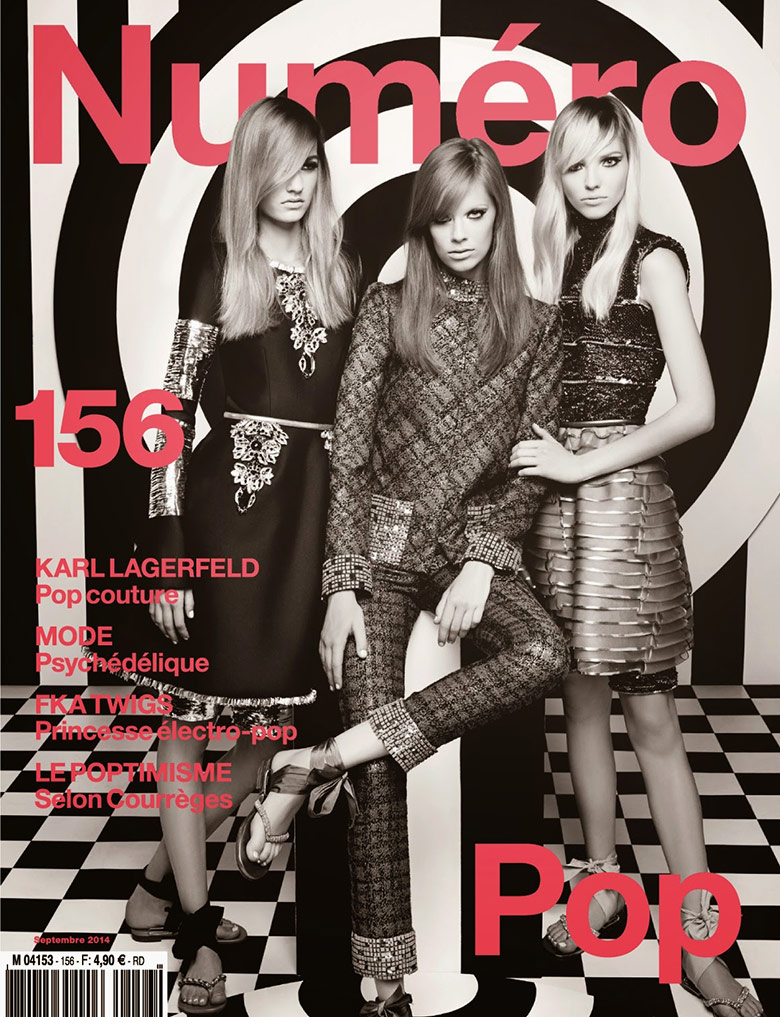 Photo Sasha, Lexi & Maartje by Karl Lagerfeld for Numero September 2014
