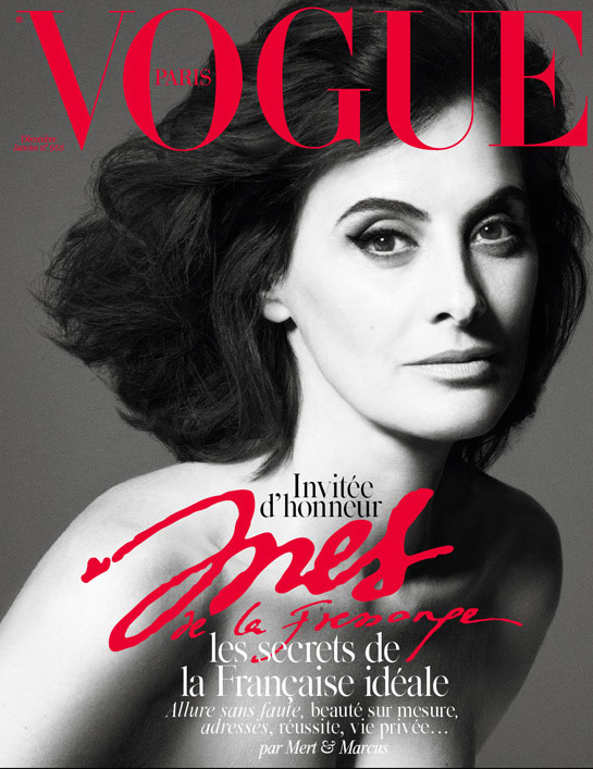 Photo Ines de La Fressange for Vogue Paris December 2014 /January 2015