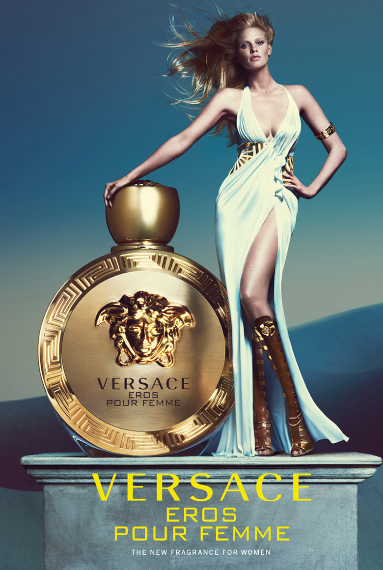 Photo Lara Stone for Versace Eros Pour Femme Fragrance by Mert & Marcus