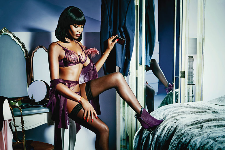 Photo Naomi Campbell by Ellen von Unwerth for Agent Provocateur S/S 2015