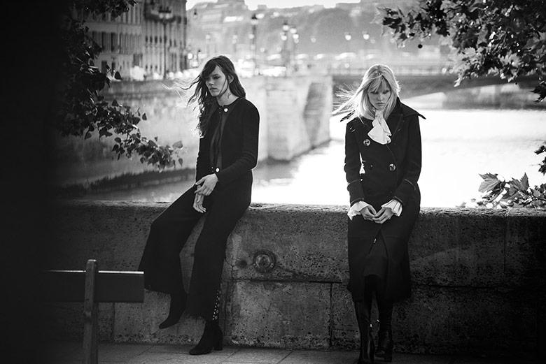 Photo Lara Stone & Freja Beha Erichsen by Peter Lindbergh for W November 2015