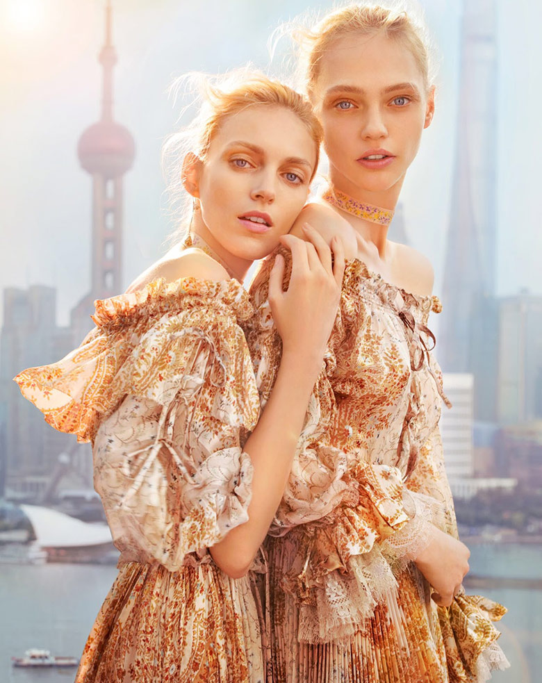Photo Anja Rubik & Sasha Pivovarova for Vogue China February 2016