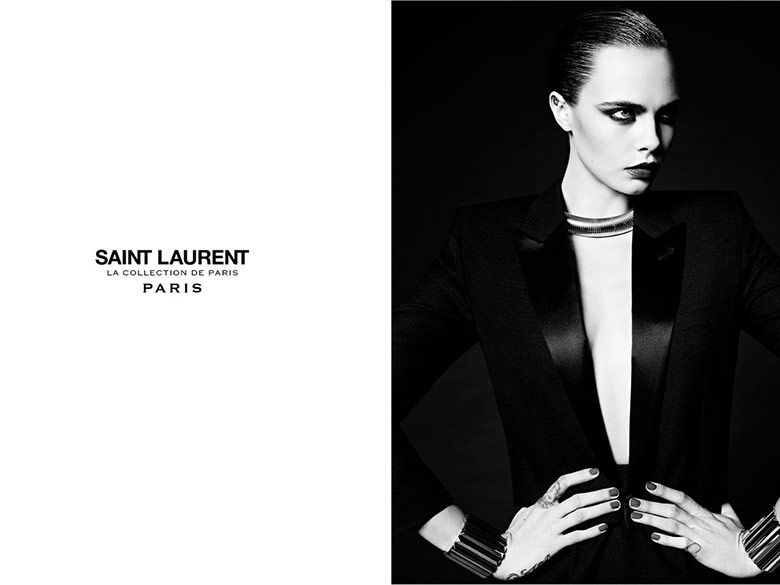 Photo Cara Delevingne by Hedi Slimane for Saint Laurent La Collection de Paris
