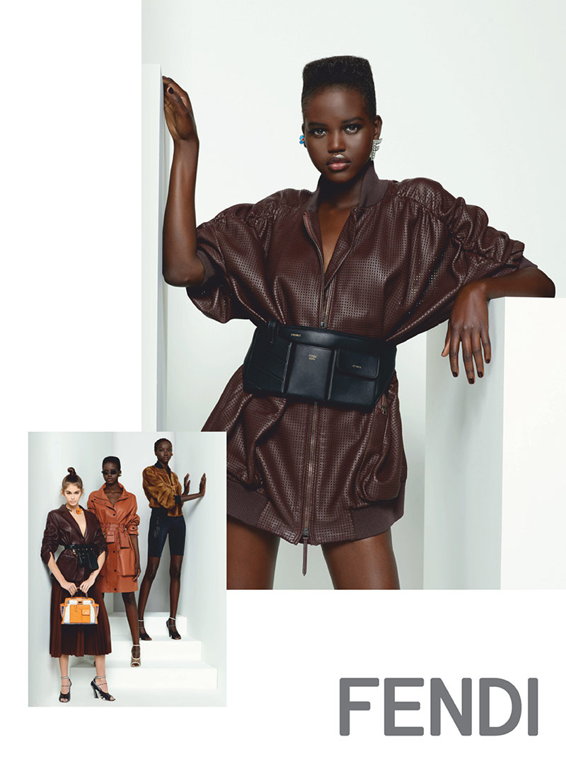 Photo Anok Yai, Adut Akech & Kaia Gerber for Fendi S/S 2019