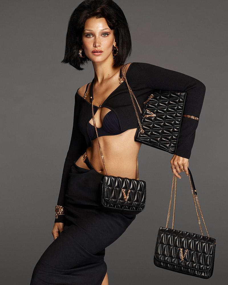 Bella Hadid in Versace Virtus Handbag